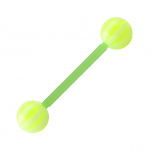 Piercing Langue Bioflex Bicolore Vert Clair / Blanc pas cher