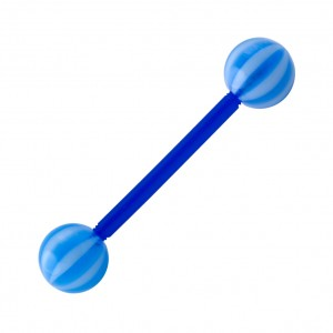 Dark Blue/White Bicolor Bioflex Tongue Barbell Ring