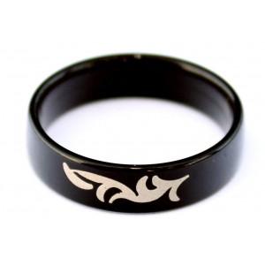 Bague Acrylique Noire Réactive UV Tribal