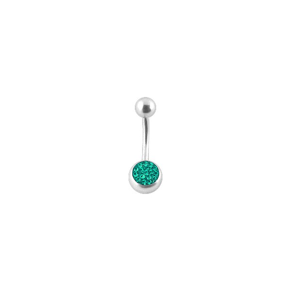 Belly Bar Navel Button Ring W Balls Emerald Swarovski