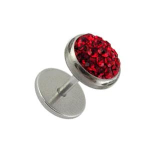 Red Strass Crystal Discs Fake Earlobe Plug Stud Earring
