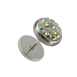 Faux Plug Oreille Disques Strass Cristal Multicolore