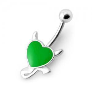 Piercing Nombril Argent 925 Diable Coeur Rexine Vert Foncé