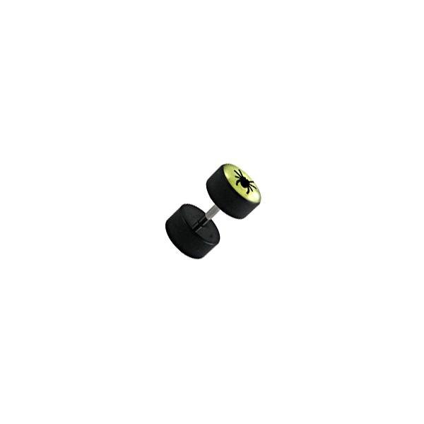 faux plug oreille pas cher noir fluorescent araign e. Black Bedroom Furniture Sets. Home Design Ideas