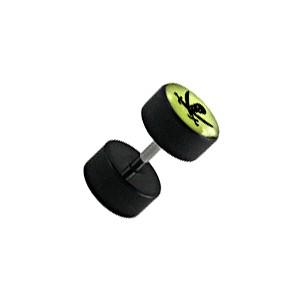 Earlobe Black Fake Plug Stud Earring w/ Glow in Dark Pirate