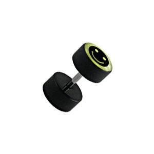 Earlobe Black Fake Plug Stud Earring w/ Glow in Dark Smiley