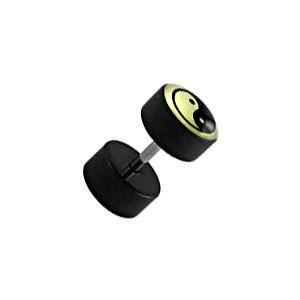 Faux Plug Oreille Noir Fluorescent Yin-Yang