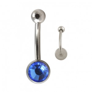 Piercing Arcade Acier Chirurgical 316L Disque Strass Bleu
