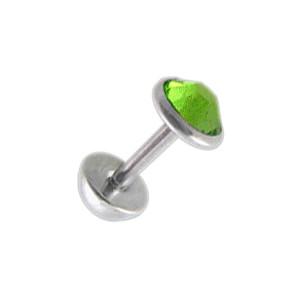 Faux Plug Oreille pas cher Zircone CZ Vert Clair 5 mm & Demi-Boule