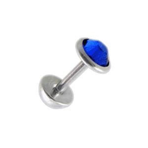 Faux Plug Oreille pas cher Zircone CZ Bleu Foncé 5 mm & Demi-Boule