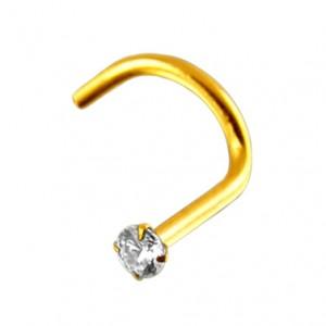 14K Yellow Gold Nose Stud Screw Ring w/ White Zirconia
