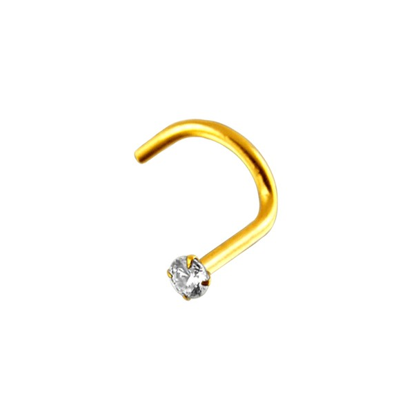 14k Yellow Gold Nose Stud Screw Ring W White Zirconia