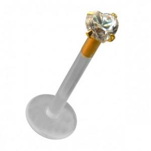 14K Yellow Gold Push-Fit Bioflex Labret Piercing Bar Stud w/ Heart White Zirconia