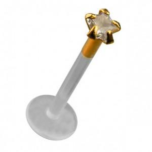 Piercing Labret Bioflex Push-Fit Oro de 14K Zirconia Blanco Estrella