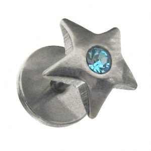 Star Fake Earlobe Plug Stud Earring w/ Turquoise Strass