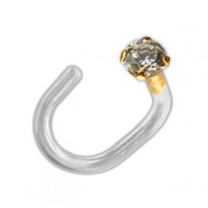 14K Yellow Gold Push-Fit Bioflex Nose Piercing Stud Screw Ring w/ Round White Zirconia
