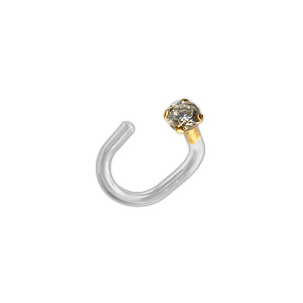 14k Yellow Gold Push Fit Bioflex Nose Piercing Stud Screw Ring W Round White Zirconia