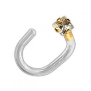 14K Yellow Gold Push-Fit Bioflex Nose Piercing Stud Screw Ring w/ Square White Zirconia