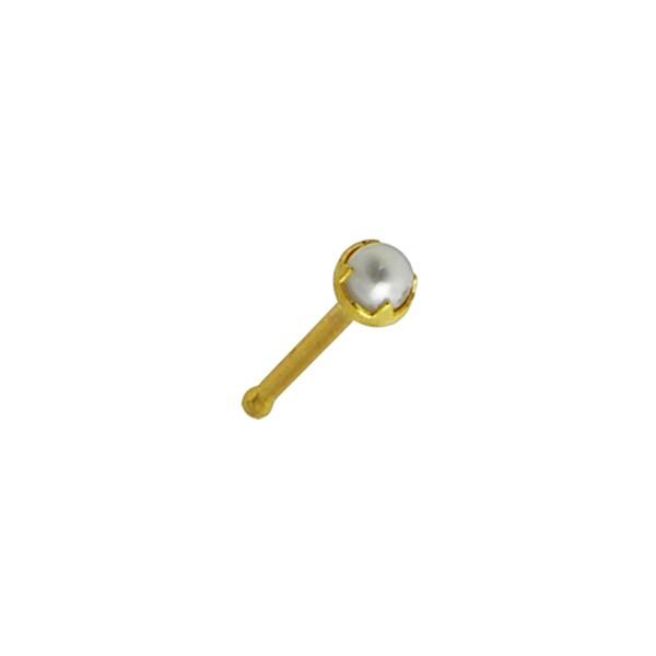 piercing nez pin droit or jaune 14k perle naturelle. Black Bedroom Furniture Sets. Home Design Ideas