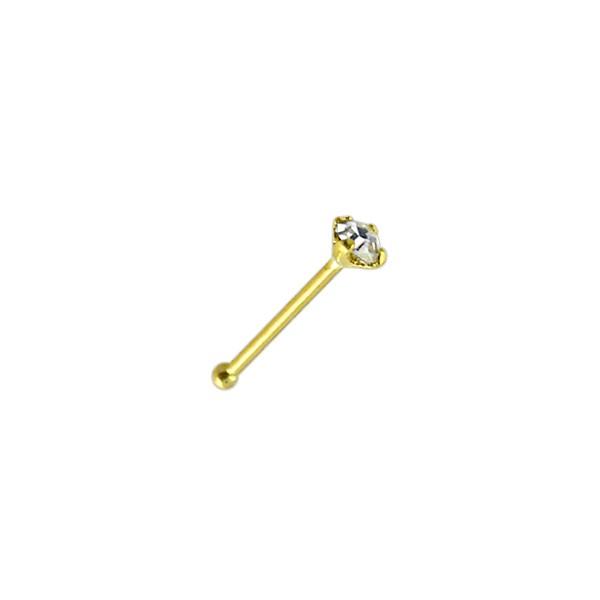 piercing nez pin droit or jaune 14k v ritable diamant. Black Bedroom Furniture Sets. Home Design Ideas