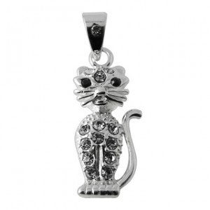 Zirconia 925 Sterling Silver Sitting Cat Pendent