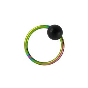 Piercing Anneau BCR Titane 23G Anodisé Multicolore Boule Noire