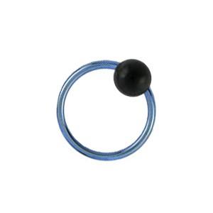 Piercing Anneau BCR Titane 23G Anodisé Bleu Clair Boule Noire