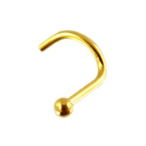 14K Yellow Gold Nose Stud Screw Ring w/ Ball