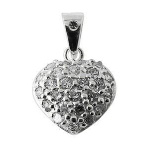 Colgante Plata de Ley 925 Zirconia Corazón Redondo