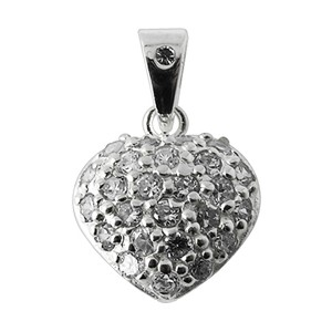 Zirconia 925 Sterling Silver Rounded Heart Pendent