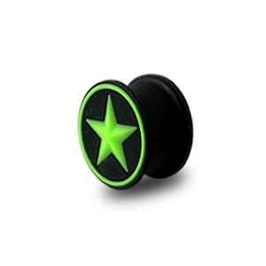 Plug Lobe Oreille Silicone Biocompatible Flexible Etoile Cercle Vert / Noir