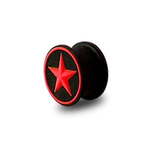 Plug Lobe Oreille Silicone Biocompatible Flexible Etoile Cercle Rouge / Noir