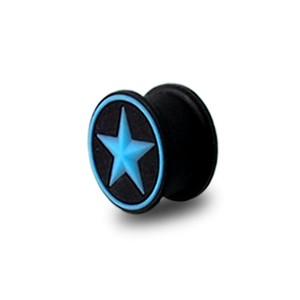 Plug Lobe Oreille Silicone Biocompatible Flexible Etoile Cercle Bleu / Noir