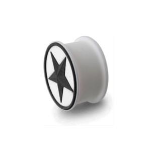 Plug Lóbulo Oreja Silicona Biocompatible Flexible Estrella Círculo Negro / Blanco