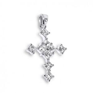 Anhänger 925 Sterlingsilber Zirkonia Kreuz Prinzessin