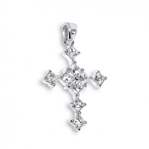 Princess Cross Zirconia 925 Sterling Silver Pendent