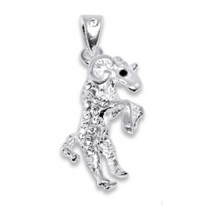 Goat Zirconia 925 Sterling Silver Pendent