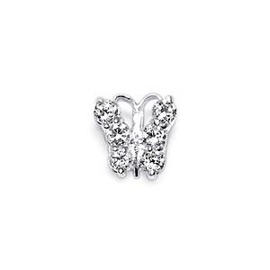 Pendentif Argent Massif 925 Zircone Petit Papillon