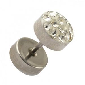 316L Surgical Steel Earlobe Fake Plug Stud Earring w/ Discs & White Crystal