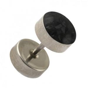316L Surgical Steel Earlobe Fake Plug Stud Earring w/ Discs & Black Crystal