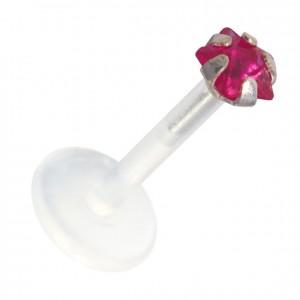 Dark Pink Star Push-fit Bioflex Madonna Bar Stud Ring