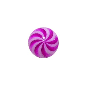 White/Purple Twisted Acrylic UV Piercing Only Ball