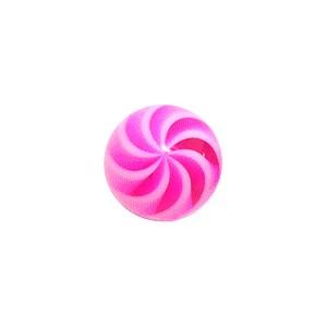 Bola Piercing Acrílico Espiral Blanco / Rosa