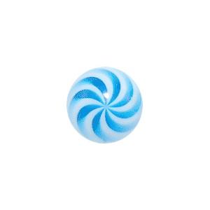 Boule Piercing Acrylique Spirale Blanc / Bleu Clair