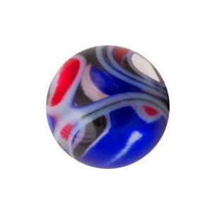 Boule Piercing Acrylique Vortex Rouge / Bleu