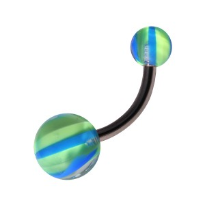 Green/Blue Candy Acrylic Belly Bar Navel Button Ring