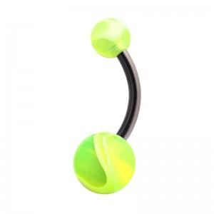 Piercing Nombril Acrylique Transparent Marbré Vert