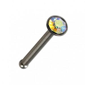Piercing Nez Pin Droit Acier Chirurgical Strass Multicolore