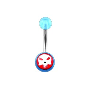 Piercing Nombril pas cher Acrylique Transparent Bleu Clair The Punisher