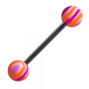 Piercing Langue Acrylique Bonbon Violet / Orange pas cher